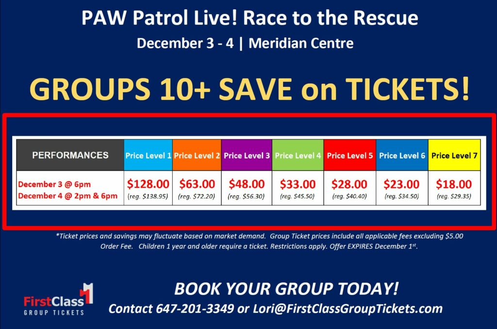 Group discount pricing matrix for PAW Patrol Live! Race to the Rescue at St. Catherines Meridian Centre Dec 3-Dec 4, 2019