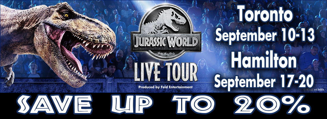 Save on Jurassic World Live tickets at Scotaibank Arena Toronto and FirstOntario Centre Hamilton Septmber 2020