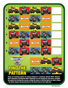 Monster Jam Activity Kit Page 10 Find the Pattern Trucks Scotiabank Arena FirstClass Group Tickets