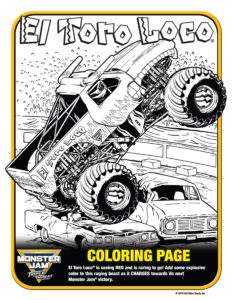 Monster Jam Activity Kit Page 11 El Toro Colouring Page Scotiabank Arena FirstClass Group Tickets