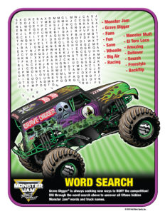 Monster Jam Activity Kit Page 4 Word Search Scotiabank Arena FirstClass Group Tickets