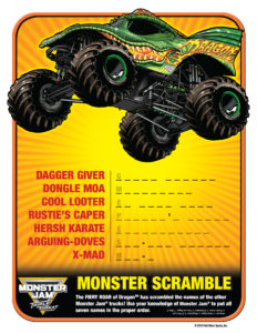 Monster Jam Activity Kit Page 6 Word Scramble Scotiabank Arena FirstClass Group Tickets