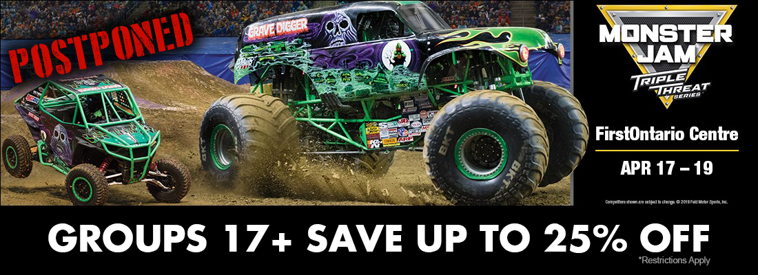 POSTPONED-Save on tickets for MonsterJam Triple Threat Hamilton FirstOntario Centre April 17-19, 2020