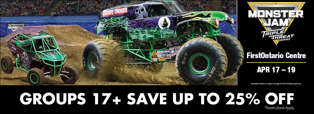 Save on tickets for MonsterJam Triple Threat Hamilton FirstOntario Centre April 17-19, 2020