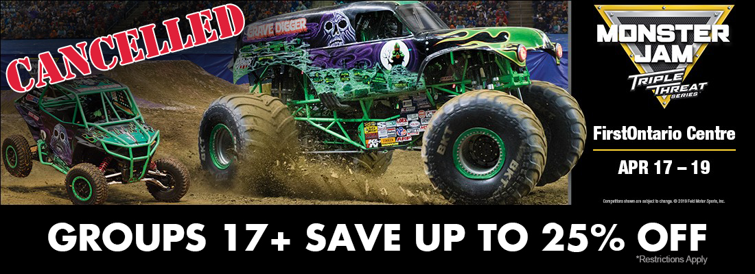 Cancelled -Save on tickets for MonsterJam Triple Threat Hamilton FirstOntario Centre April 17-19, 2020