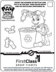 PAW Patrol Colouring activity for FirstClass discount and group tickets