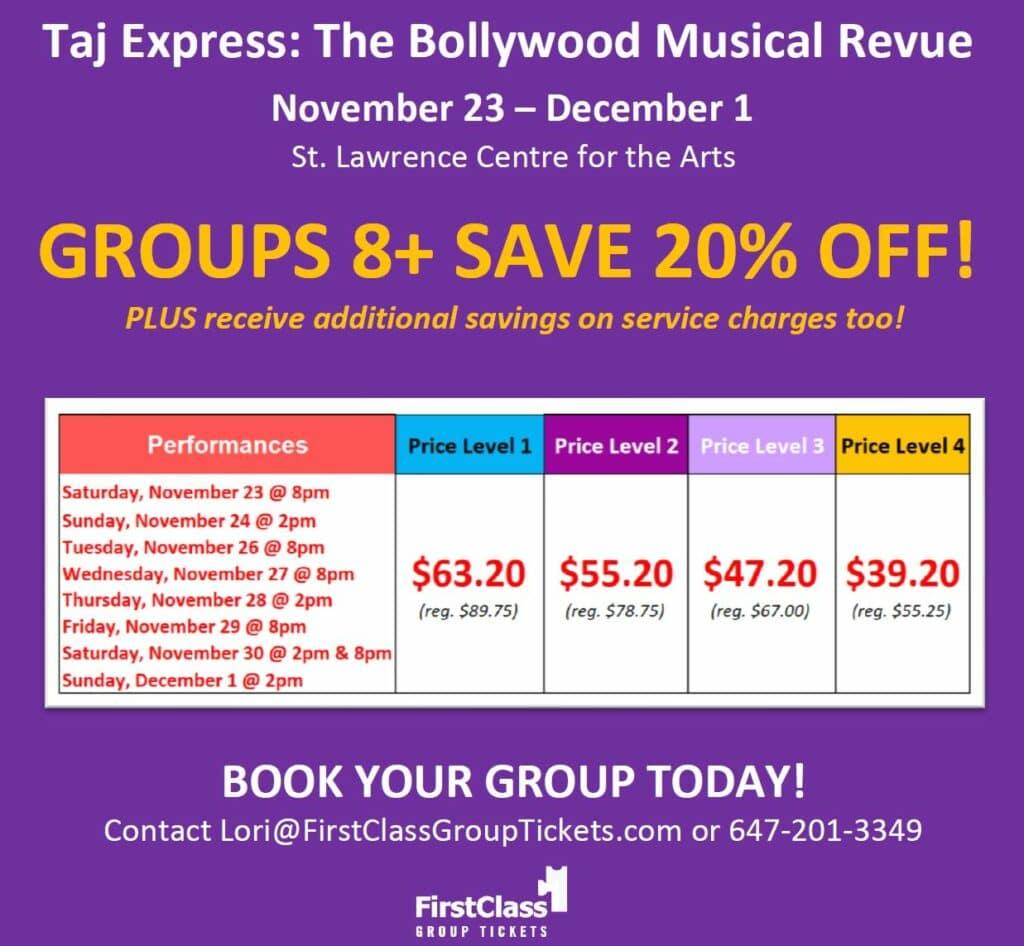 Pricing chart for Taj Express St. Lawrence Centre Toronto 9 Shows Nov 23 - Dec 1, 2019