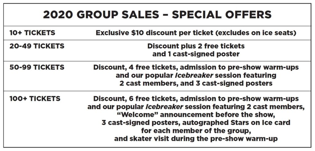 Stars on Ice Canada Group Sales Perks. Call for more details
