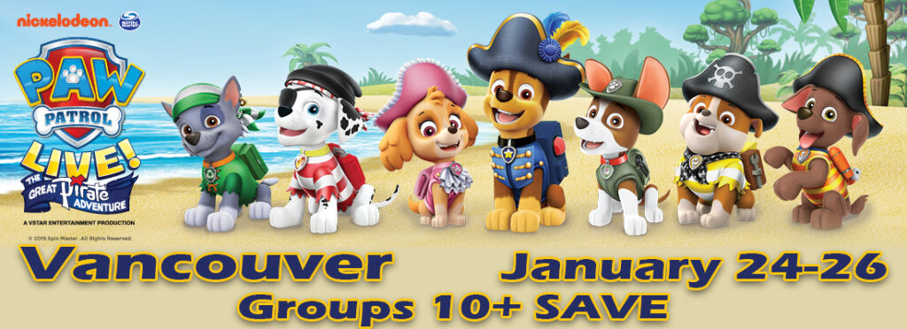 Tickets for PAW Patrol Great Pirate Adventure Rogers Arena Vancouver January 24 to 26 2020
