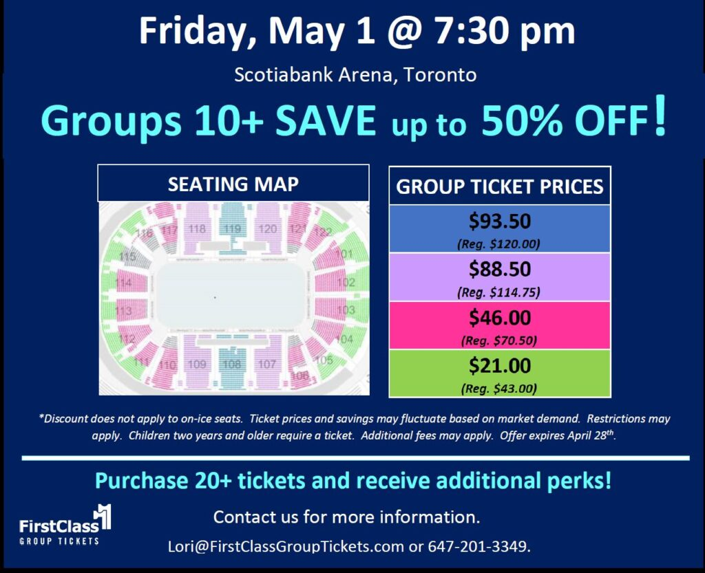 Stars on Ice pricing and seating matrix for Scotiabank Arena Toronto May 1, 2020