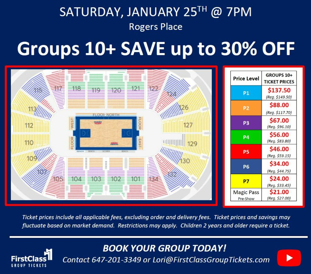 Seating and Pricing Chart for Harlem Globetrotters in Edmonton at the Rogers Place January 25, 2020 @7:00 pm