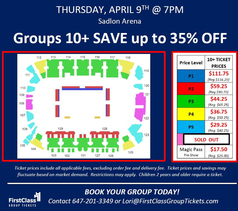 Seating and Pricing Chart for Harlem Globetrotters in Barrie at the Sadlon Arena April 9, 2020 at 7:00 pm