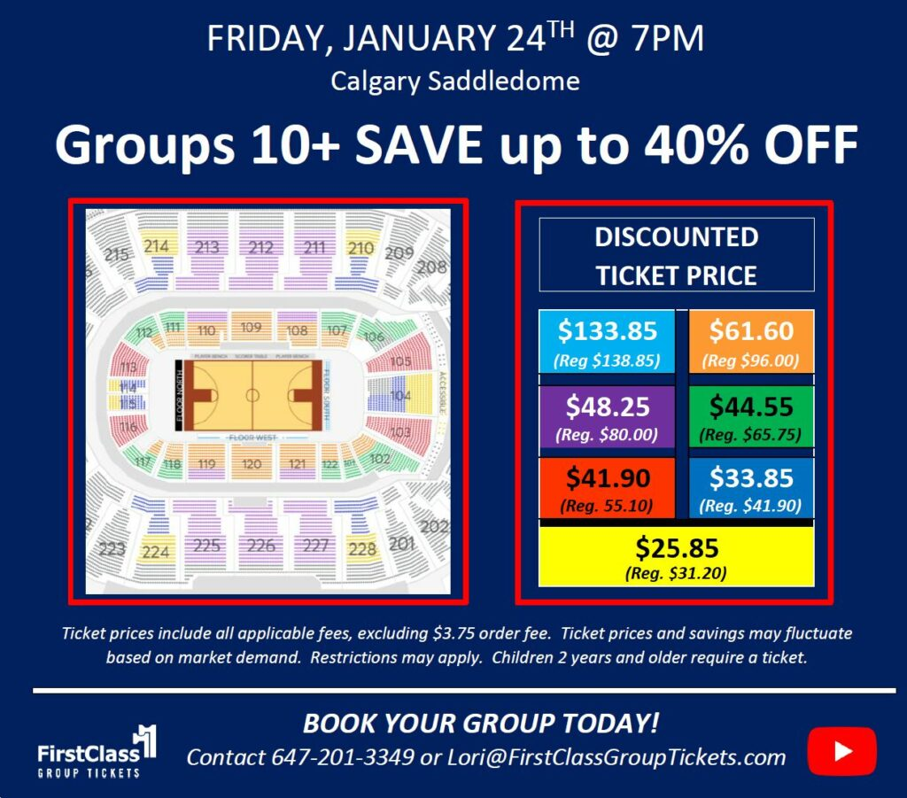 Ticket Pricing and Seating Chart for the Harlem Globetrotters Calgary Scotiabank Saddledome January 24, 2020 @7:00 pm
