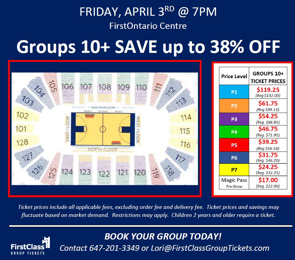 Seating and Pricing Chart for Harlem Globetrotters in Hamilton at the FirstOntario Centre April 3, 2020 at 7:00 pm