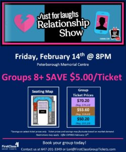 Ticket Pricing for JFL Relationship Show Peterborough February 14, 2020