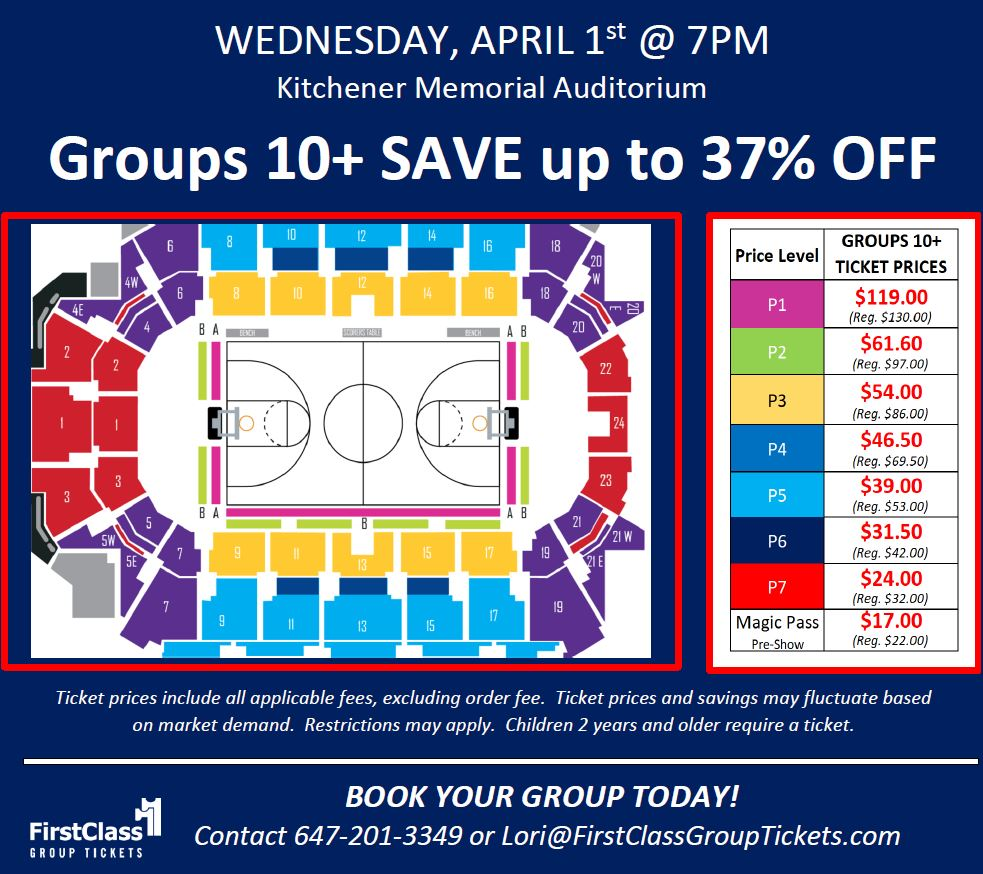 Seating and Pricing Chart for Harlem Globetrotters at the Kitchener Memorial Auditorium April 1, 2020 at 7:00 pm