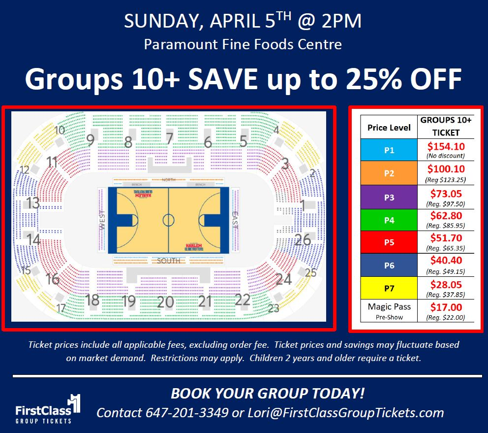 Seating Chart for Harlem Globetrotters in Mississauga Paramount Fine Foods Centre April 5, 2020 at 2:00 pm