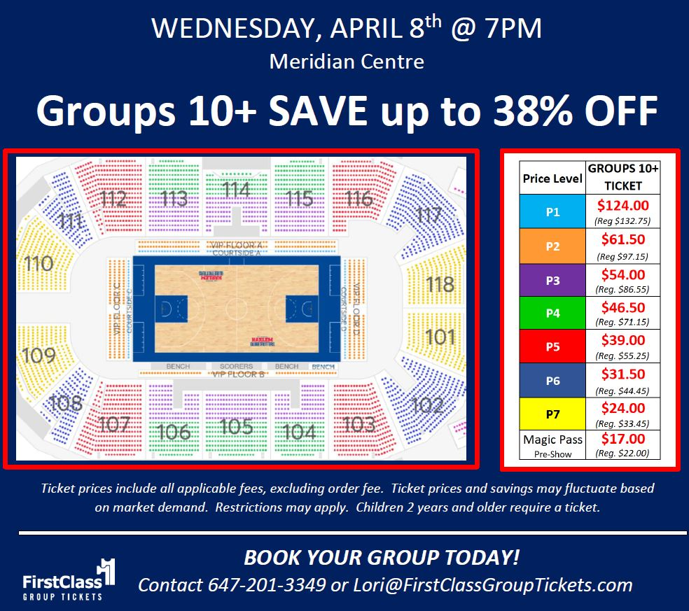 Seating and Pricing Chart for Harlem Globetrotters in St.Catharines at the Meridian Centre April 8, 2020 at 7:00 pm