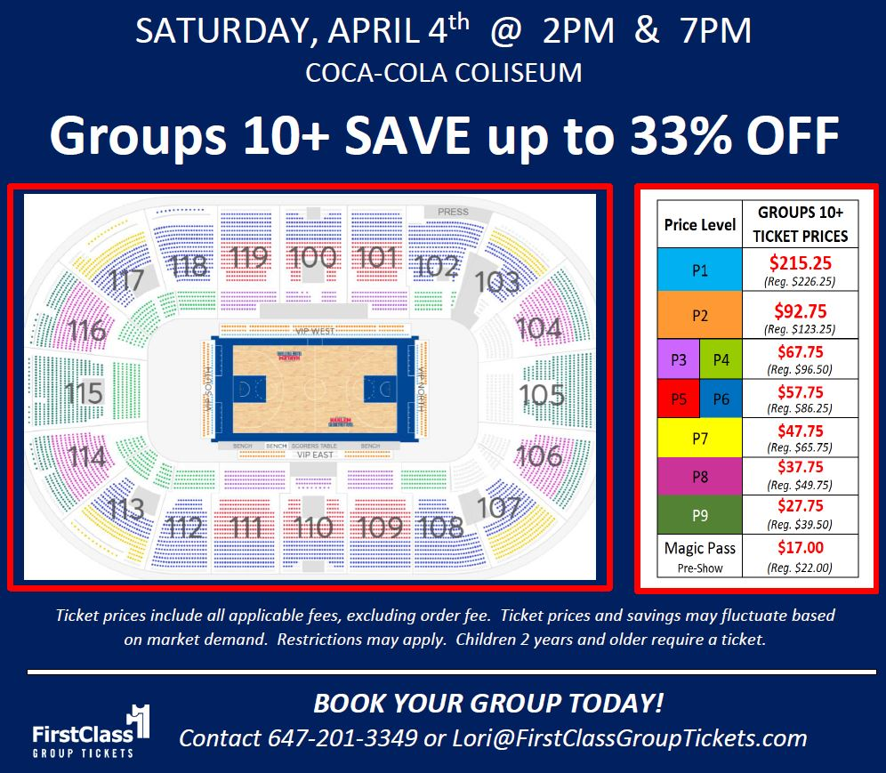 Seating and Pricing Chart for Harlem Globetrotters in Toronto at the Coca Cola Coliseum April 4, 2020 at 2:00 pm and 7:00 pm