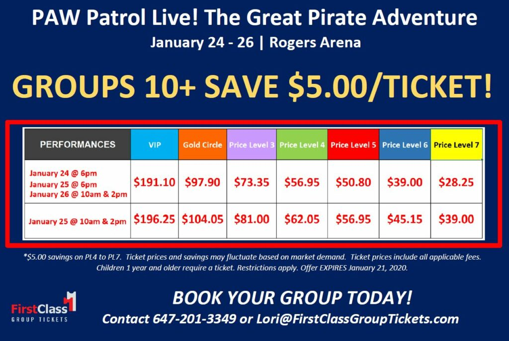 Ticket pricing and show times for PAW Patrol Great Pirate Adventure Rogers Arena Vancouver January 24 to 26 2020