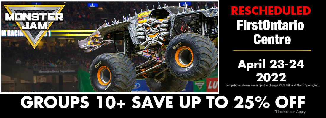 MonsterJam Tickets on sale for Hamilton FirstOntario Centre April 23-24, 2022