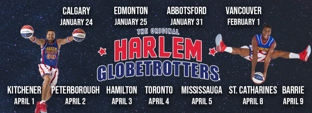 Tickets for the Harlem Globetrotters across Canada in 2020